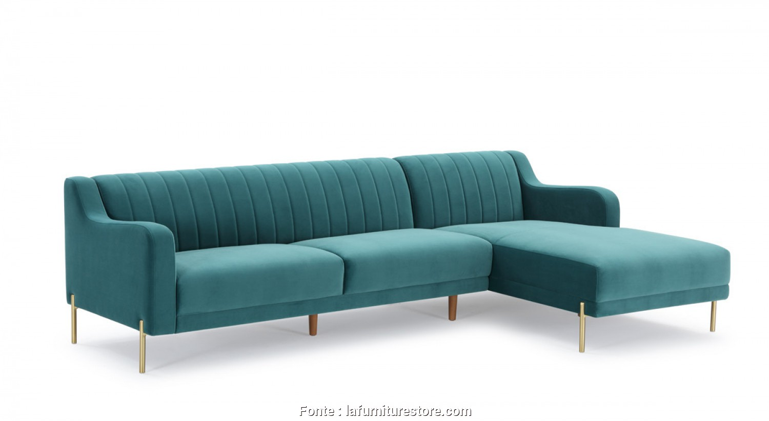 9 Divani Flour, Rustico Divani Casa Flow Modern Teal Velvet Sectional Sofa W/ Right Facing Chaise