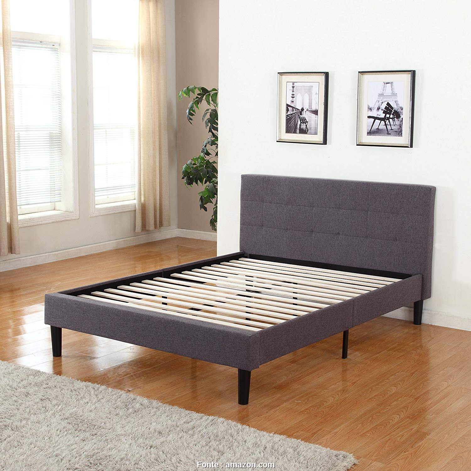 Amazon Copricuscini Divano Genius, Delizioso Amazon.Com: Divano Roma Furniture Deluxe Tufted Grey Platform, Frame With Wooden Slats (Full): Kitchen & Dining