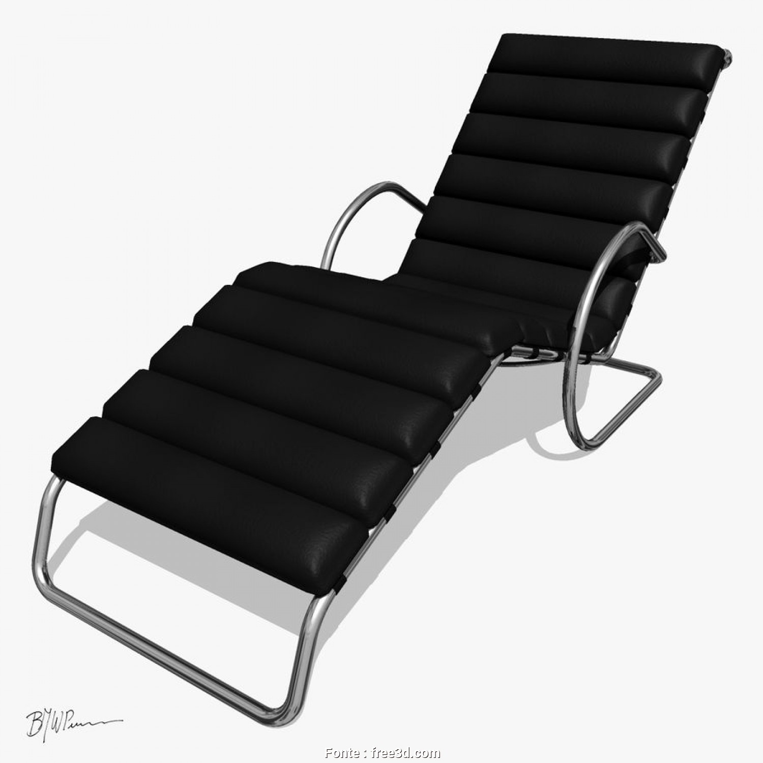 Chaise Longue, 3D, Migliore MR Chaise Lounge Chair With Arms Royalty-Free 3D Model, Preview, 1