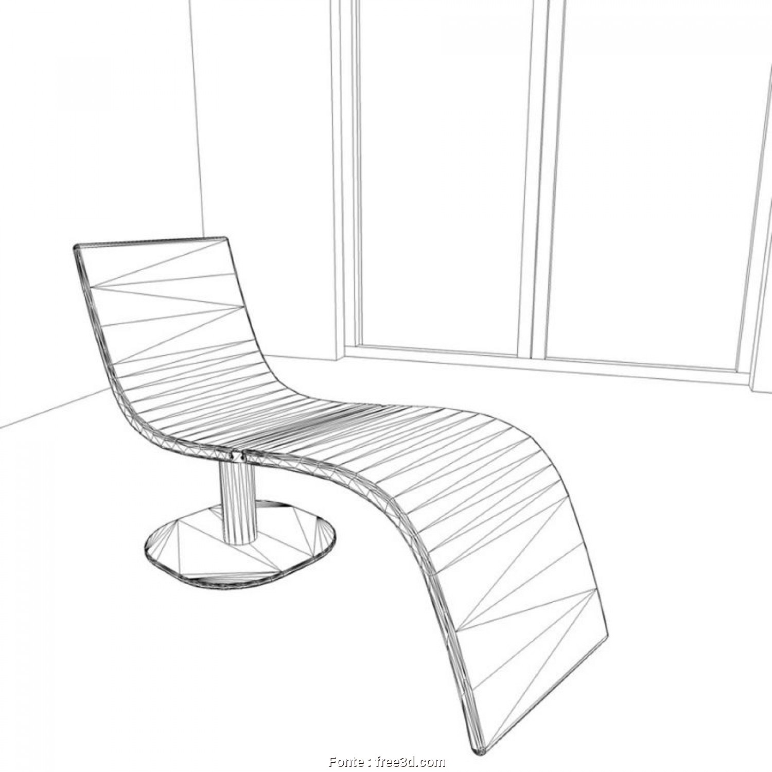 Chaise Longue Design Dwg, Originale Chair-Chaise Longue Dragonfly By Bonaldo, Design Karim Rashid Royalty-Free 3D Model