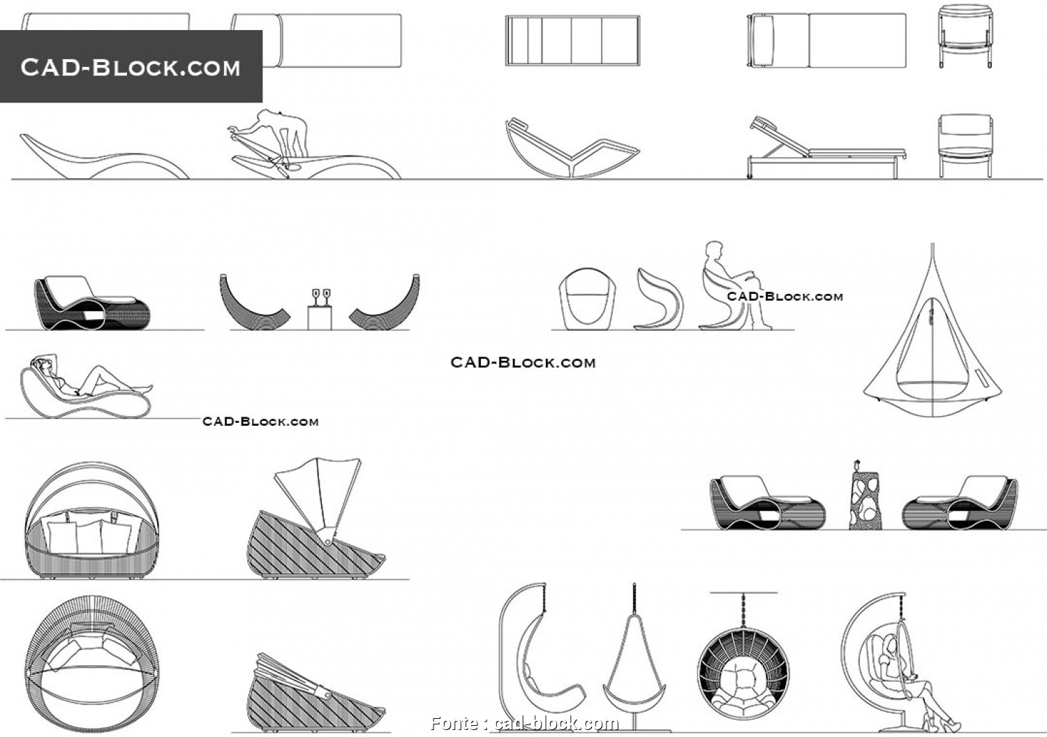 Chaise Longue Design Dwg, Esotico Patio Furniture -, Blocks, AutoCAD File