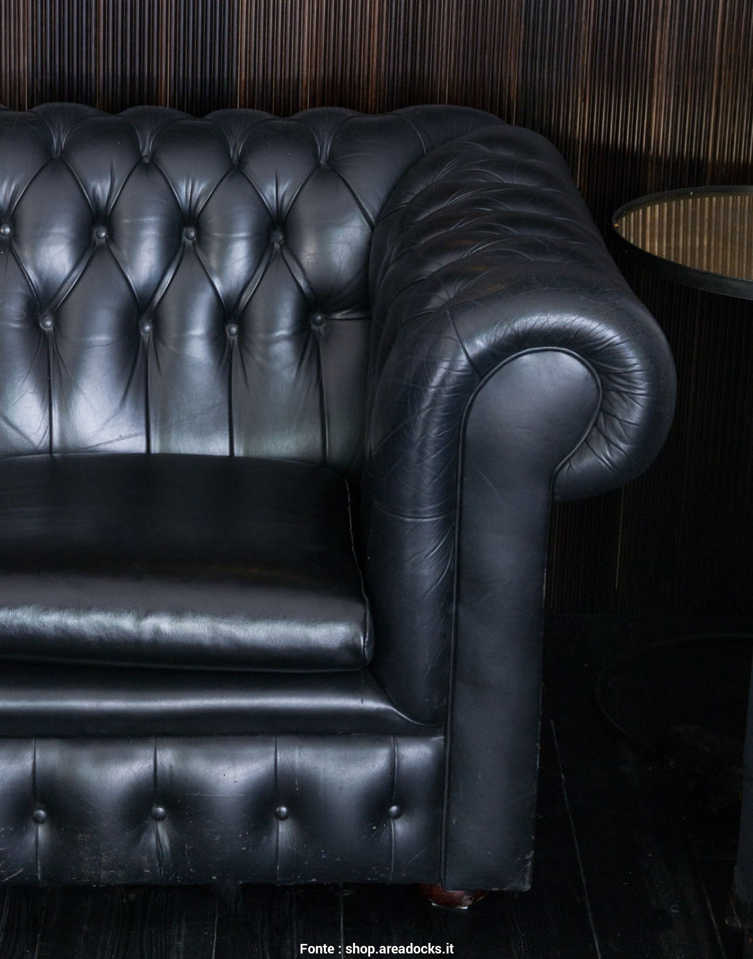 Chester Divano Vintage, Elegante AREADOCKS RESEARCH Leather Sofa Chester Chesterfield Black Three