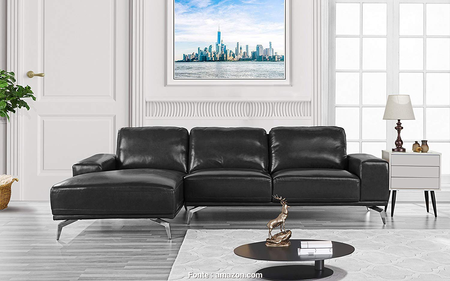 Copricuscini Divano Amazon, Ideale Amazon.Com: Divano Roma Furniture, Modern Real Leather Sectional Sofa, L-Shape Couch W/Chaise On Left (Black): Kitchen & Dining