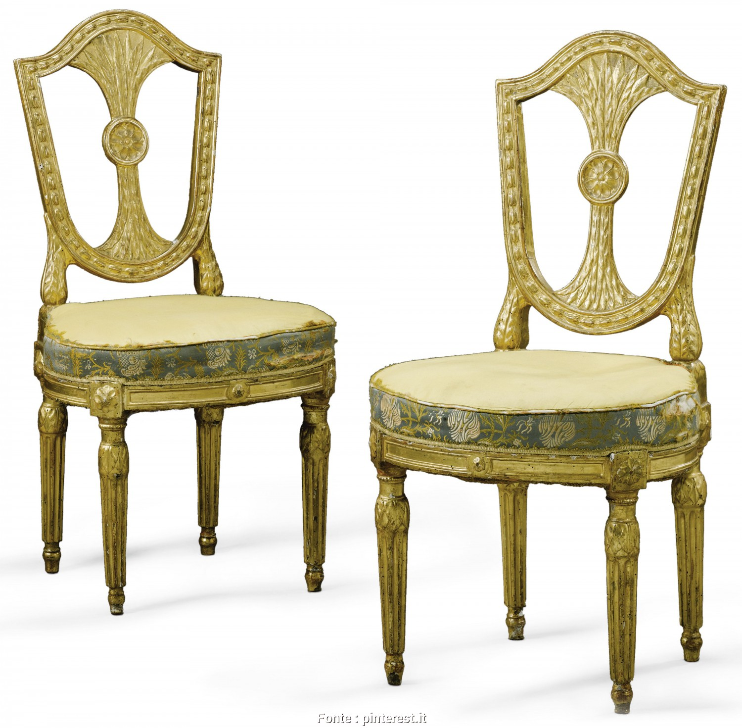 Divano Antico Stile Impero, Incredibile A Pair Of Italian Carved Giltwood Chairs, Roman, Late 18Th Century