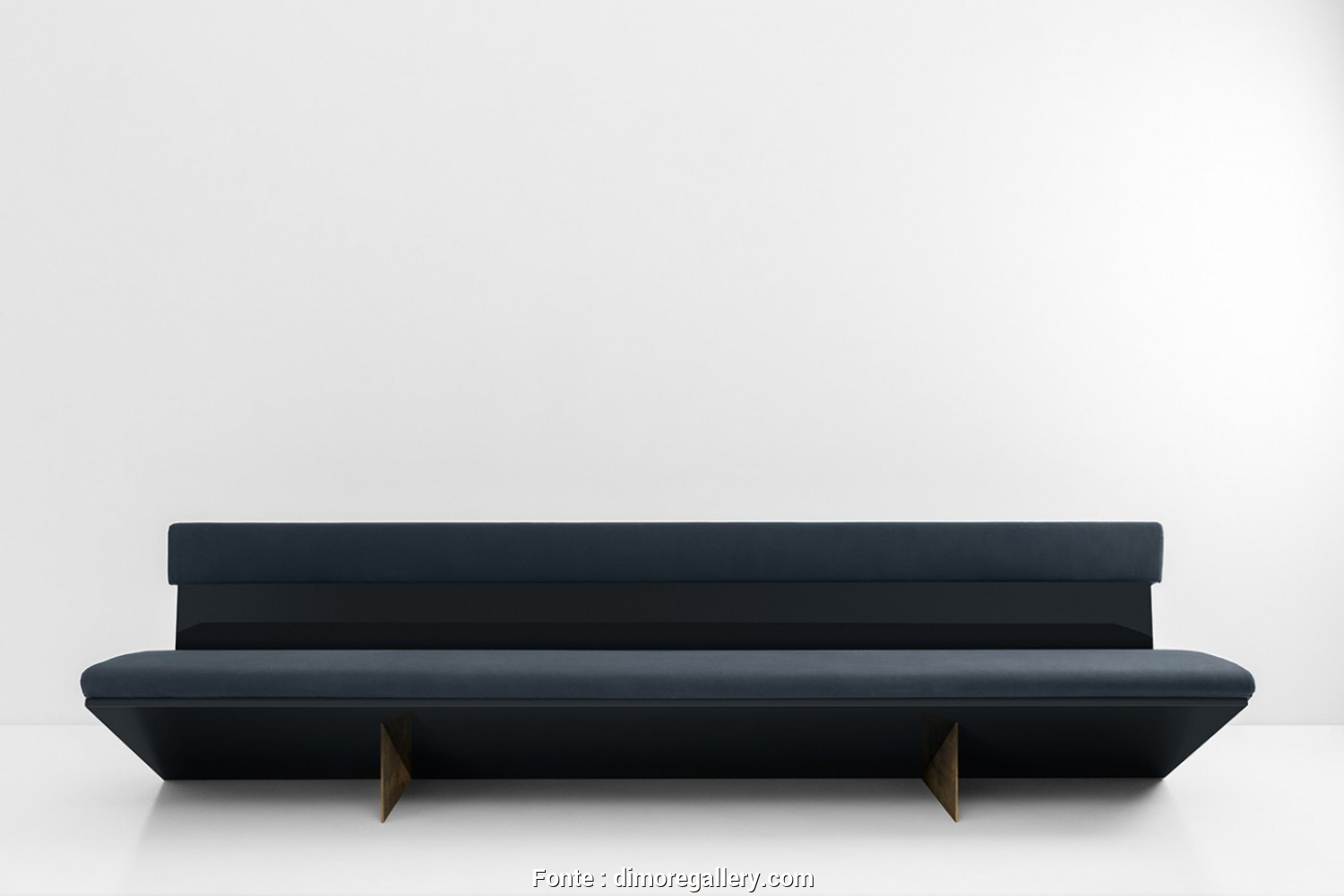 Divano Au Yemen, Costoso Sofa With Curved Structure In Glossy Lacquered Wood, Legs In Oxidised Brass. Cushion Padded With Polyurethane Foam, Upholstered In Fabric