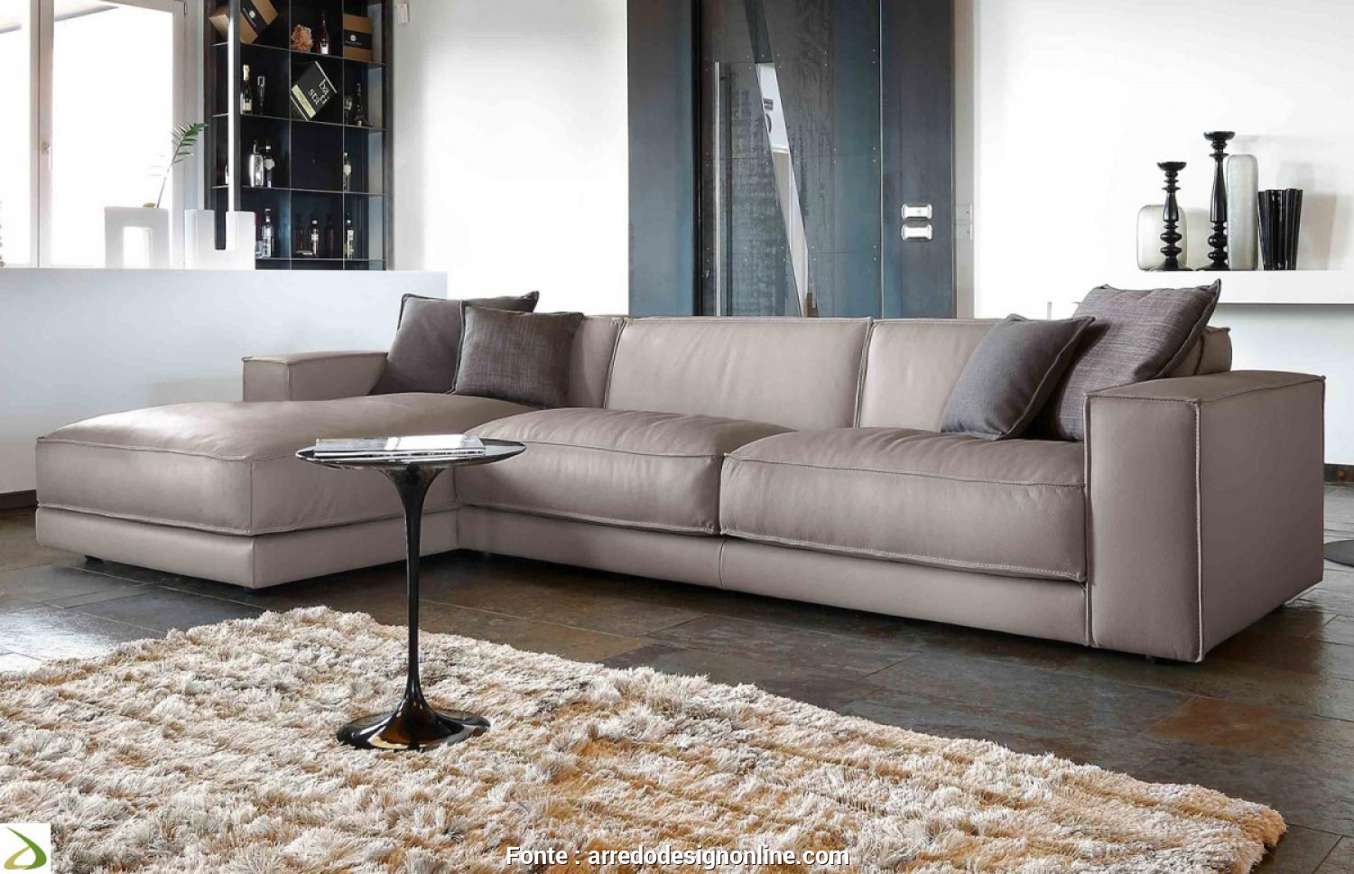 Divano Chaise Longue, Cm, Semplice Contemporary Sofa With Leather Chaise Longue