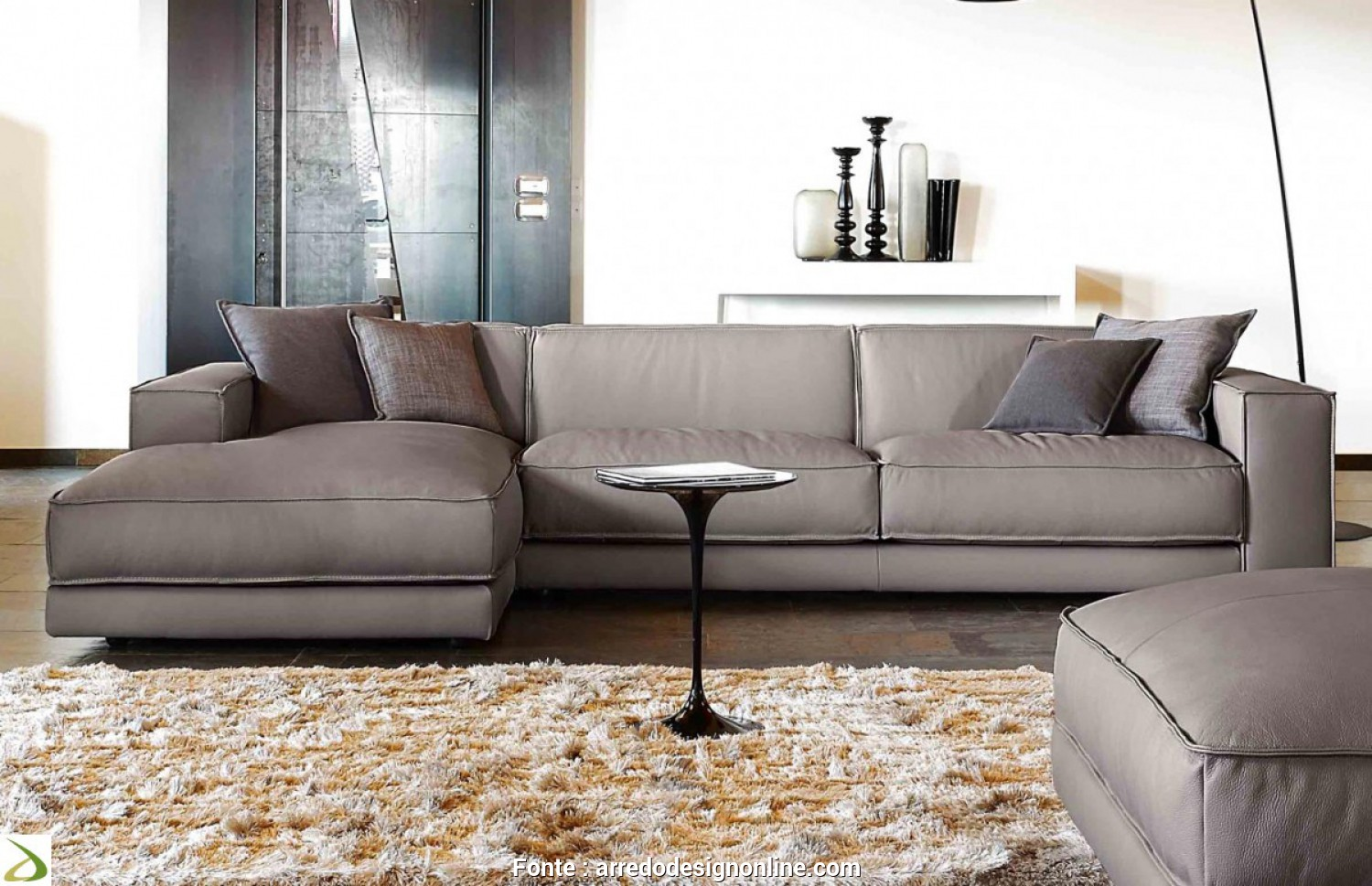 Divano Chaise Longue, Cm, Casuale Design Sofa With Leather Penisola