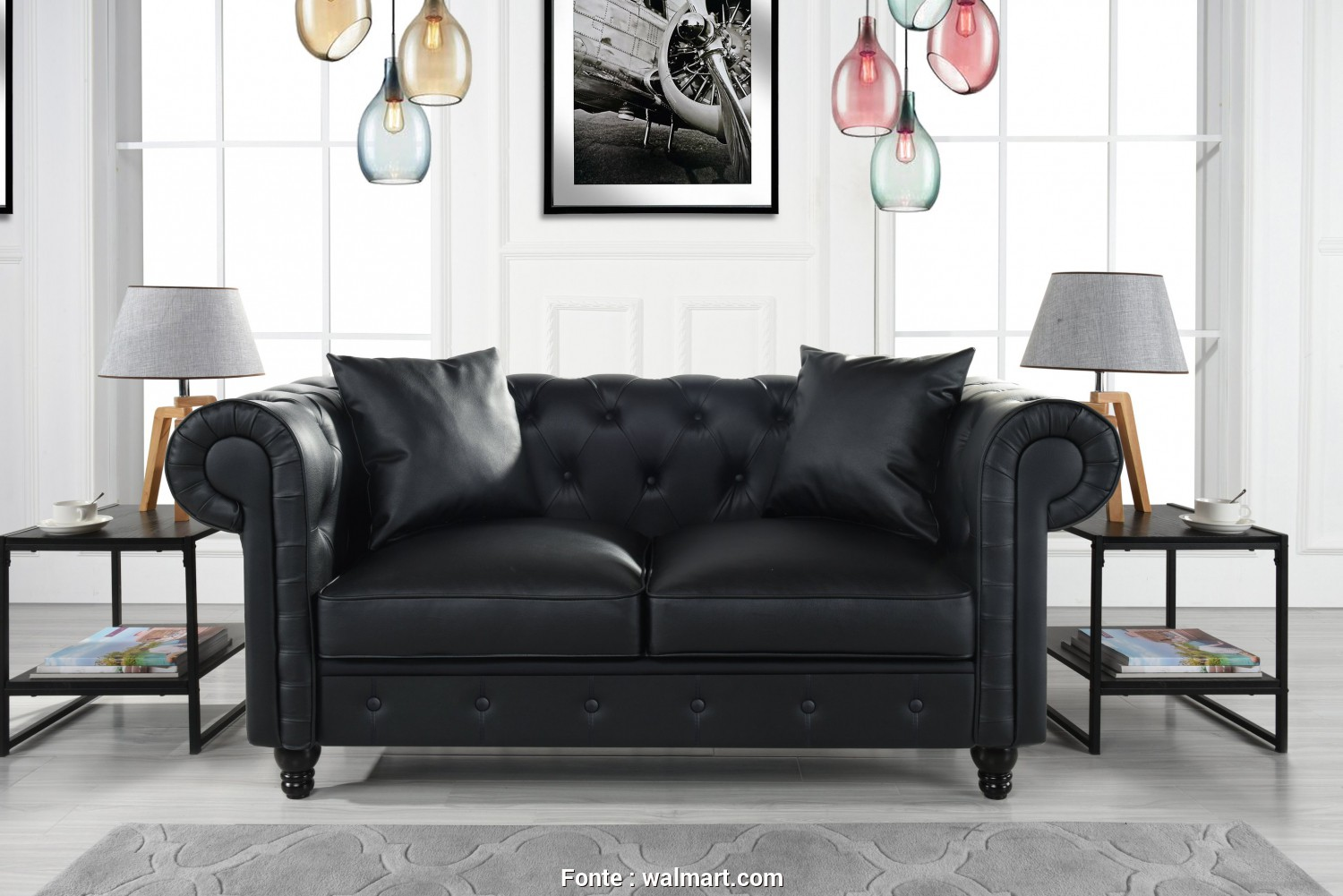 Divano Chesterfield.Com, Bellissimo Divano Roma Furniture Classic Living Room Bonded Leather Scroll, Chesterfield Loveseat (Black), Walmart.Com