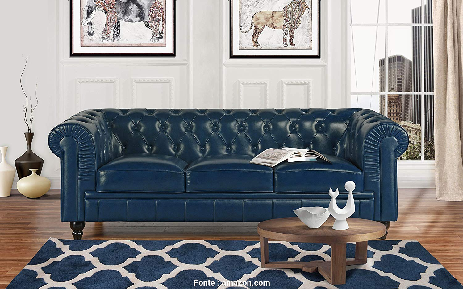 Divano Chesterfield Design, Esclusivo Amazon.Com: Divano Roma Classic Scroll, Leather Match Chesterfield Sofa (Blue): Kitchen & Dining