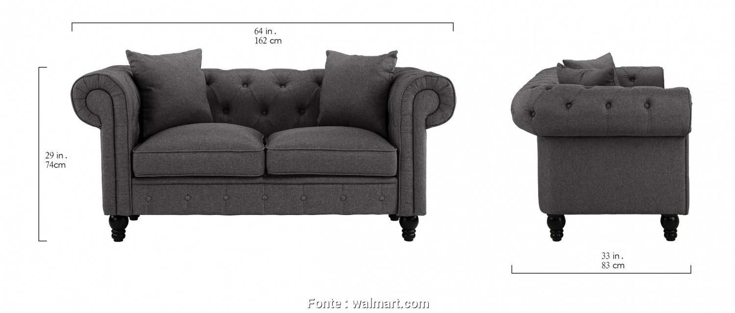 Divano Chesterfield Design, Rustico Divano Roma Furniture Classic Linen Fabric Scroll, Tufted Button Chesterfield Style Loveseat Couch (Light Grey), Walmart.Com