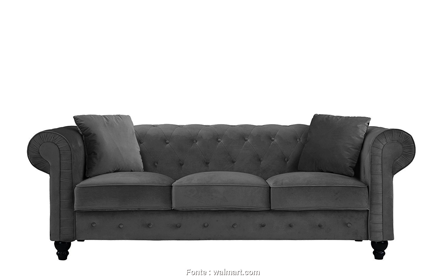 Divano Chesterfield Design, Sbalorditivo Divano Roma Furniture Classic Velvet Scroll, Tufted Button Chesterfield Sofa (Grey), Walmart.Com