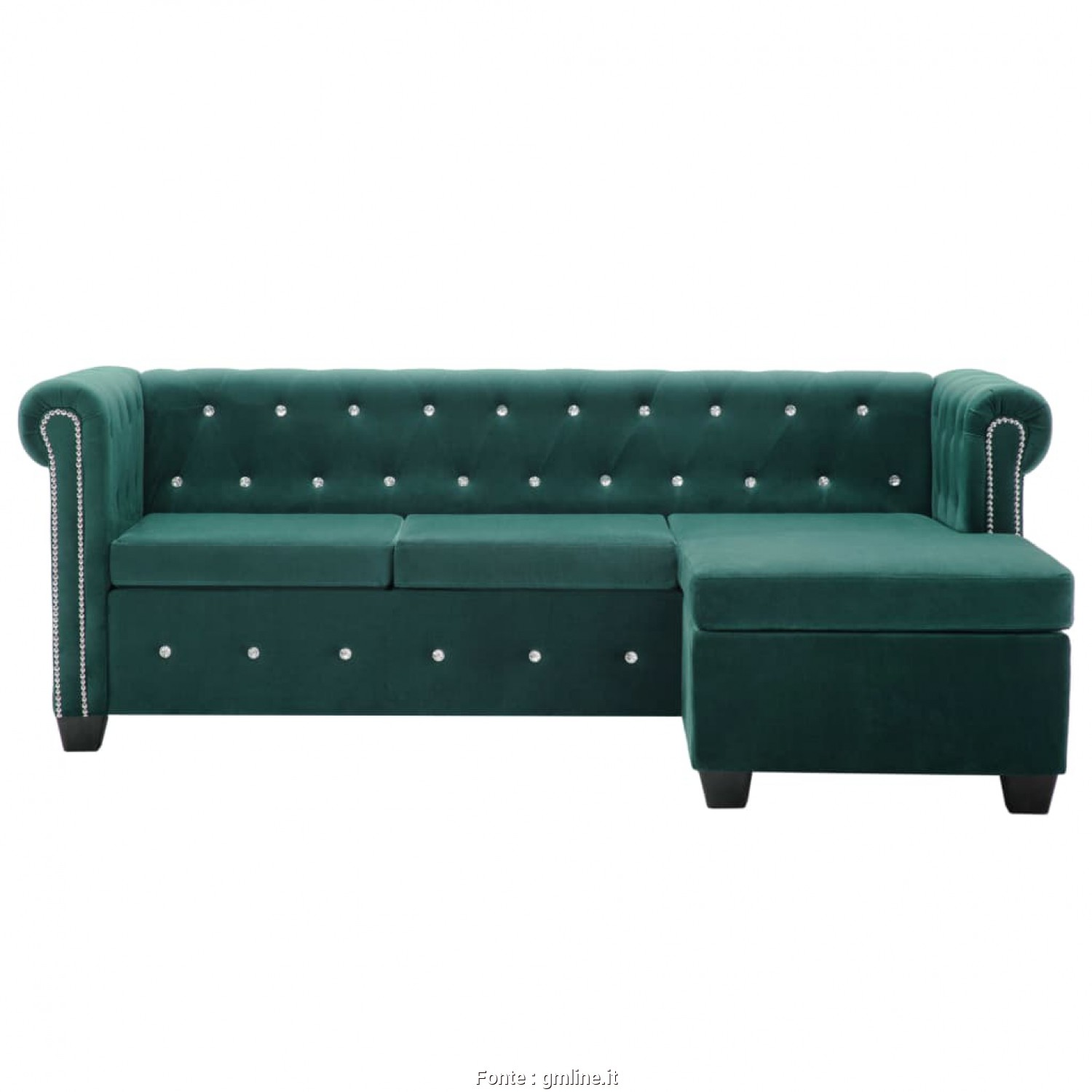Divano Chesterfield Velluto Verde, Bello Divano Chesterfield, In Velluto 199X142X72 Cm Verde