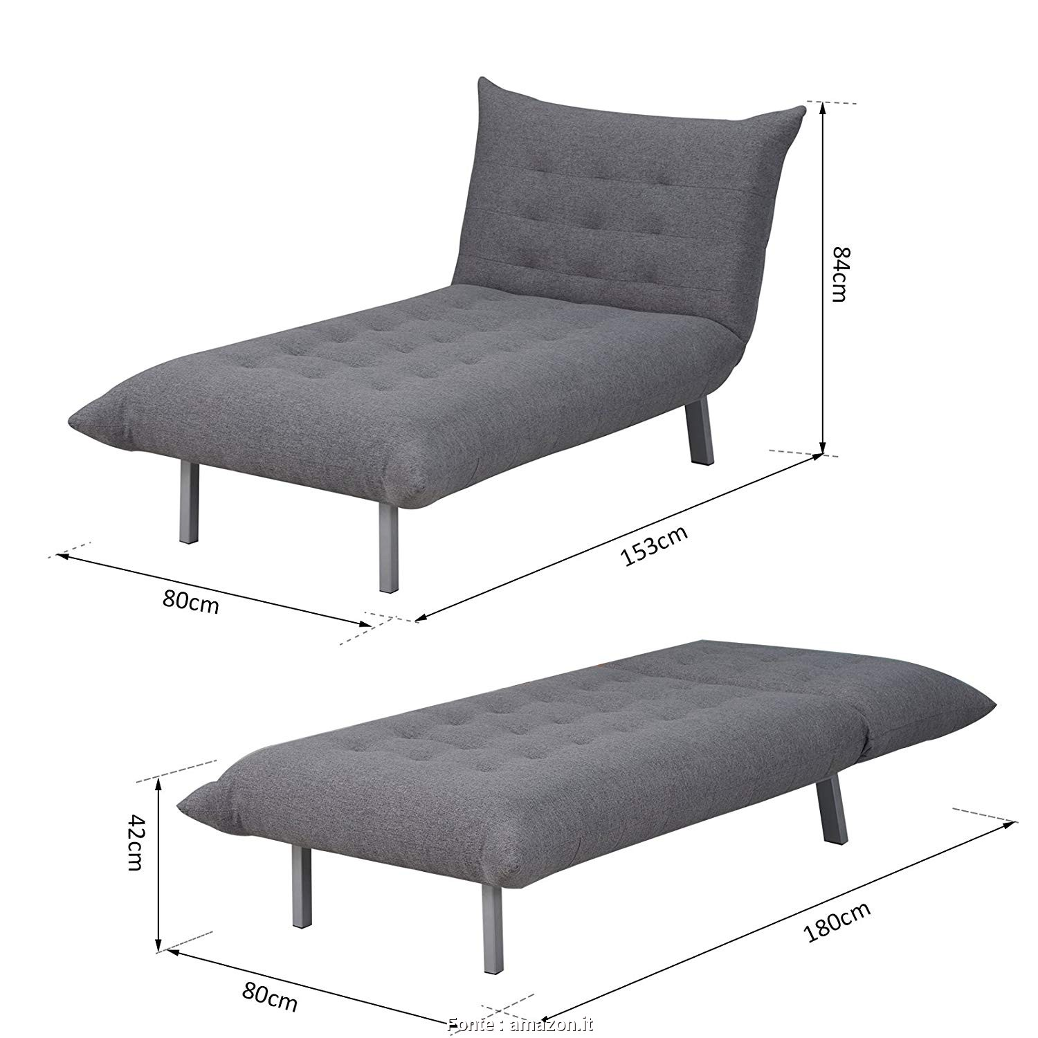 Divano, Cm, Chaise Longue, Maestoso HOMCOM Poltrona Divano Chaise Lounge Letto Multifunzionale 2 In 1 Relax Tessuto Di Lino 80 ×, × 84Cm: Amazon.It: Commercio, Industria E Scienza