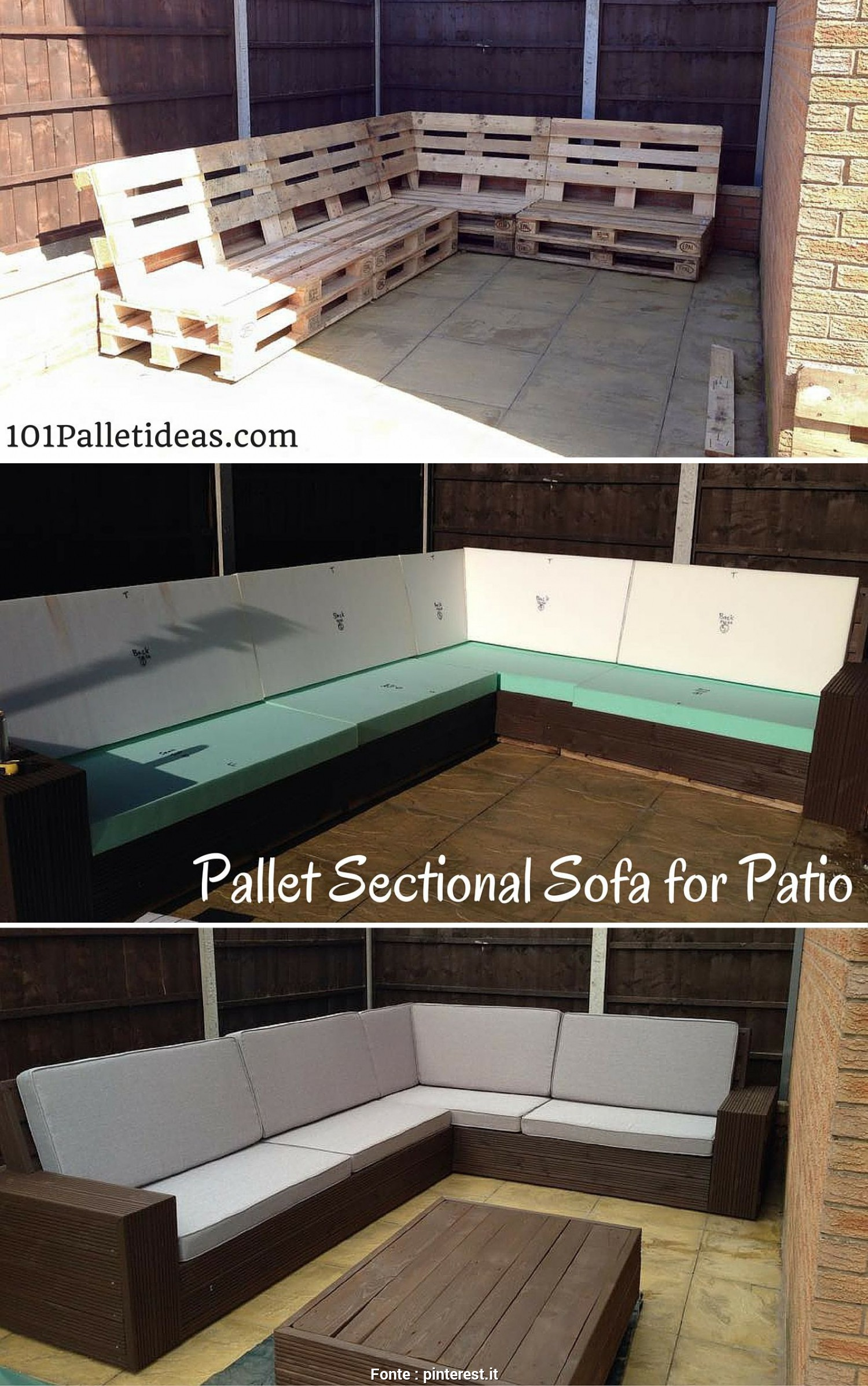 Divano Da Giardino Pallet, Sbalorditivo DIY #Pallet Sectional #Sofa, Patio, Self-Installed 8-10 Seater, 1001 Pallet Ideas