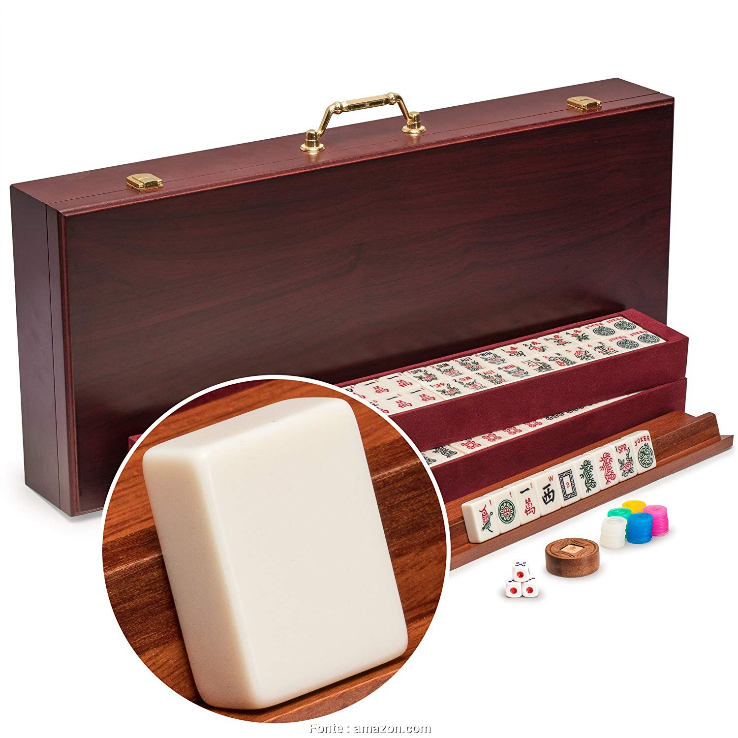Divano, Jong Amazon, Bello Yellow Mountain Imports American Mahjong Set,, Classic, Vintage Rosewood Veneer Case, Wooden Racks Included, 1930S Inspired Tiles Made Of