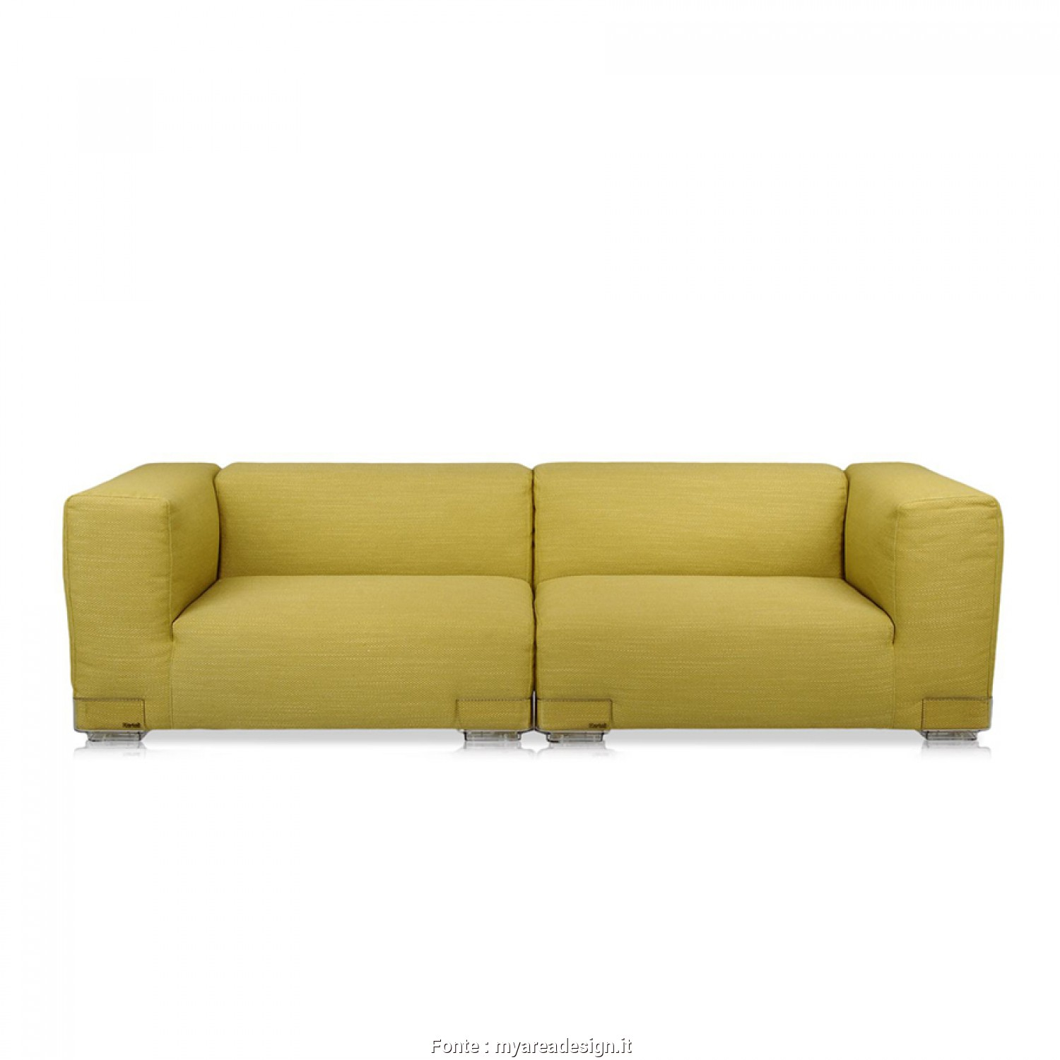 Divano Kartell Plastic Duo, Favoloso KARTELL Sofa Plastics, 2,28Mt, Composition 2 (Green, Polycarbonate, Cotton, Viscose, Linen, Silk)