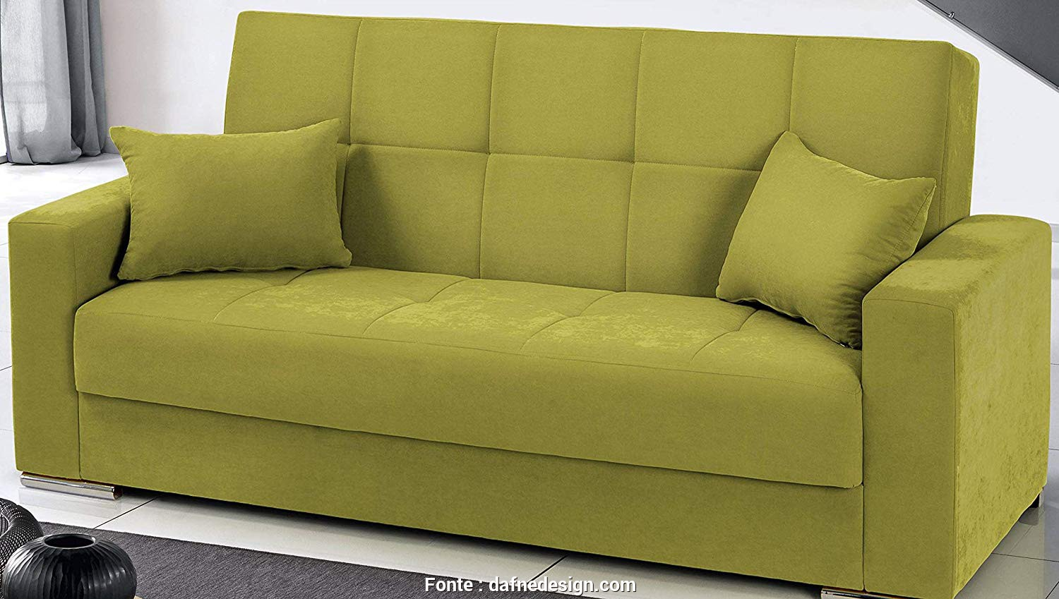 Divano Letto 3 Posti Design, Bellissima Dafnedesign.Com, Sofa, 3 Seats, Color: Green, Covering: Fabric, Function:,, Sofa, 3 Seats, Equipped With Storage Compartment Under, Seat