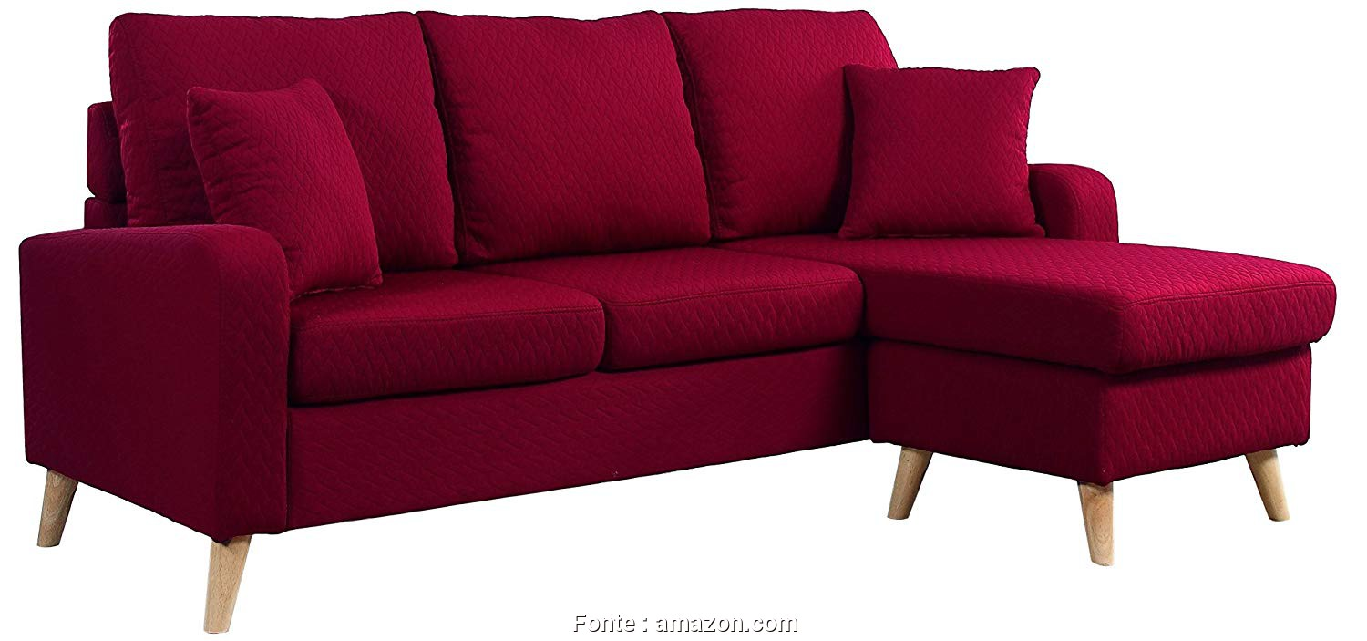 Divano Relax Amazon, Eccellente Amazon.Com: Divano Roma Furniture, Century Modern Linen Fabric Small Space Sectional Sofa With Reversible Chaise (Red): Kitchen & Dining