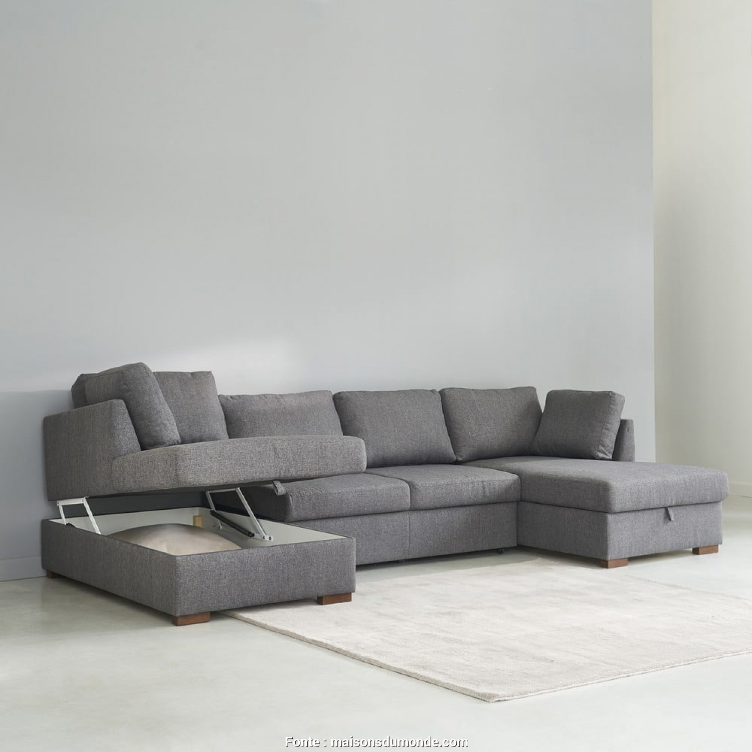 Divano Time Square Maison Du Monde, Ideale Grey 7-Seater U-Shaped Sofa Bed, Maisons Du Monde