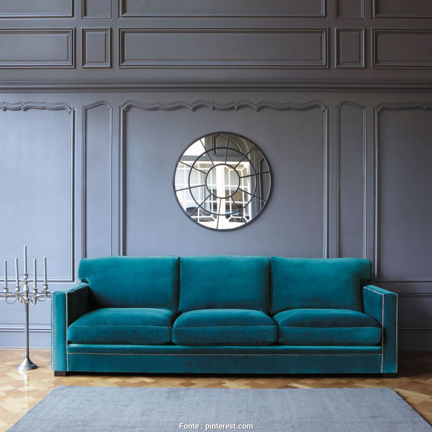 Divano Velluto Maison Du Monde, A Buon Mercato More Fabrics Loves This Blue Sofa Combined With That Purple Grey Wall @ Maisonsdumonde. Home Interior Furnishing, Wall Colour Inspiration