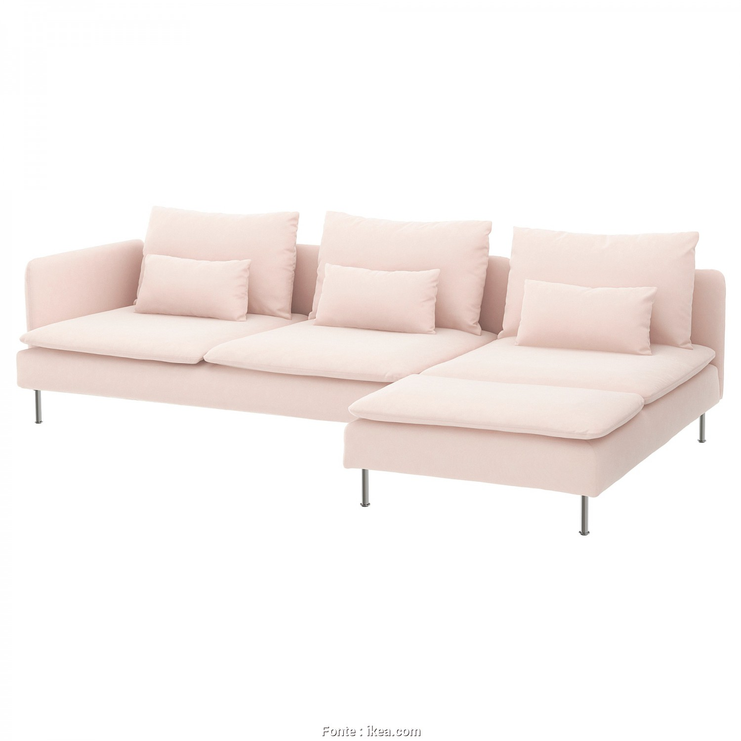 Ikea Klippan 4-Sits, Divertente SÖDERHAMN 4-Seat Sofa, With Chaise Longue, Open End, Samsta Light Pink