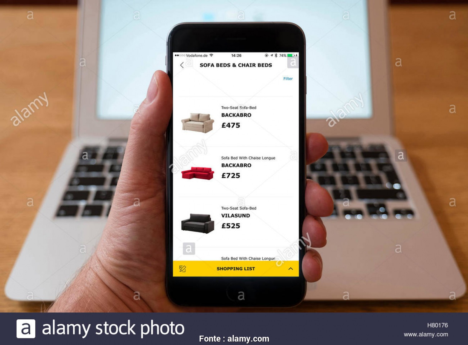 Ikea Online Backabro, A Buon Mercato Using IPhone Smartphone To Display Sofas, Sale In IKEA Online Home Furnishing Superstore