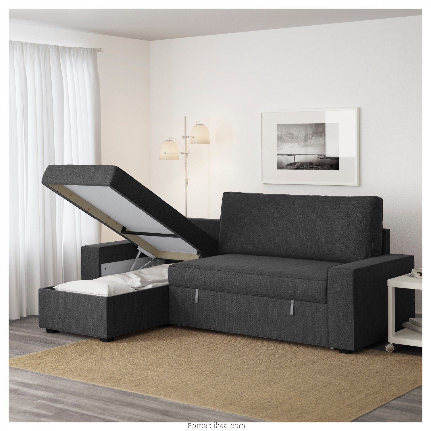Ikea Vilasund Kanepe, Eccezionale VILASUND Sofa, With Chaise Longue Hillared Anthracite