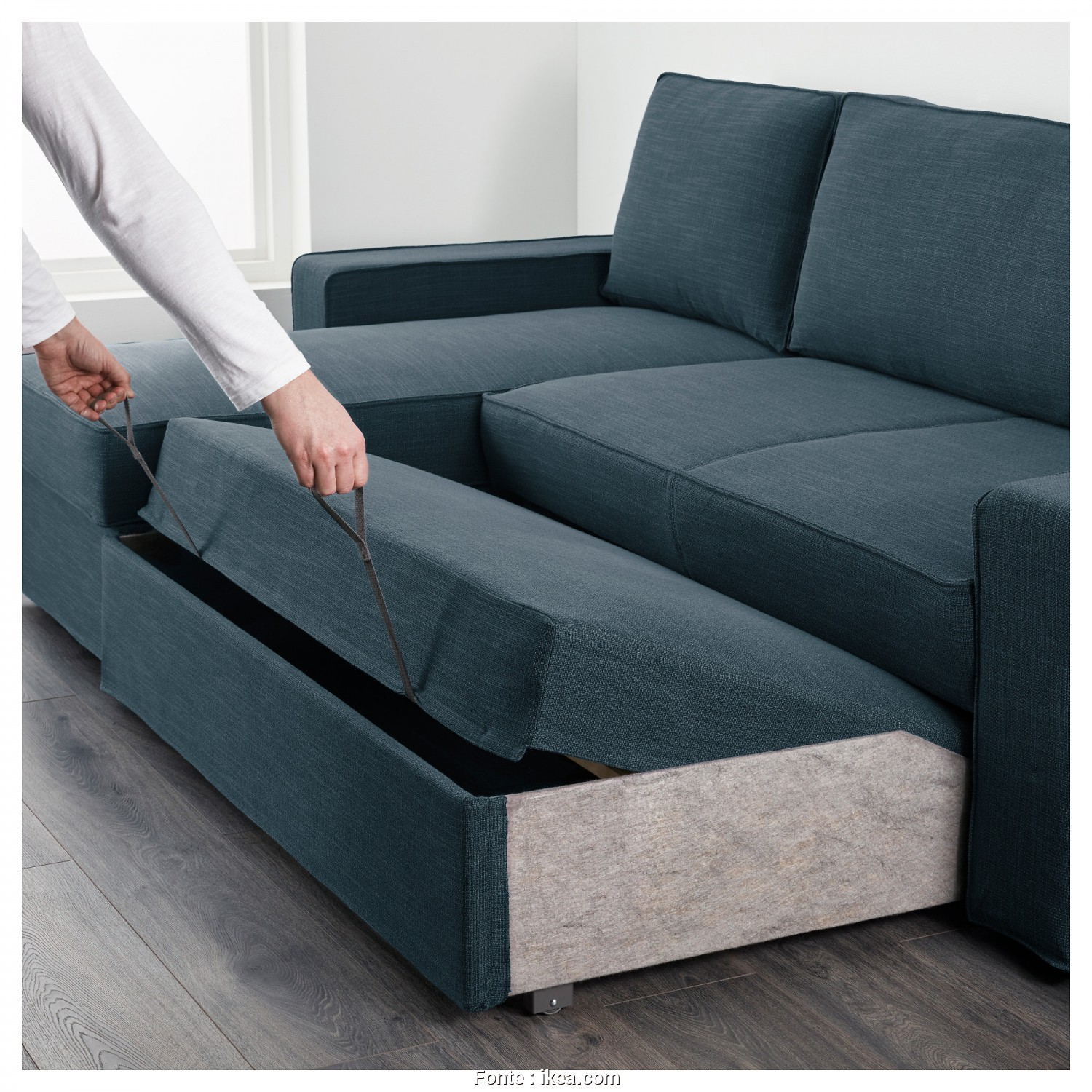 Ikea Vilasund Kanepe, A Buon Mercato VILASUND Sofa, With Chaise Longue Hillared Dark Blue
