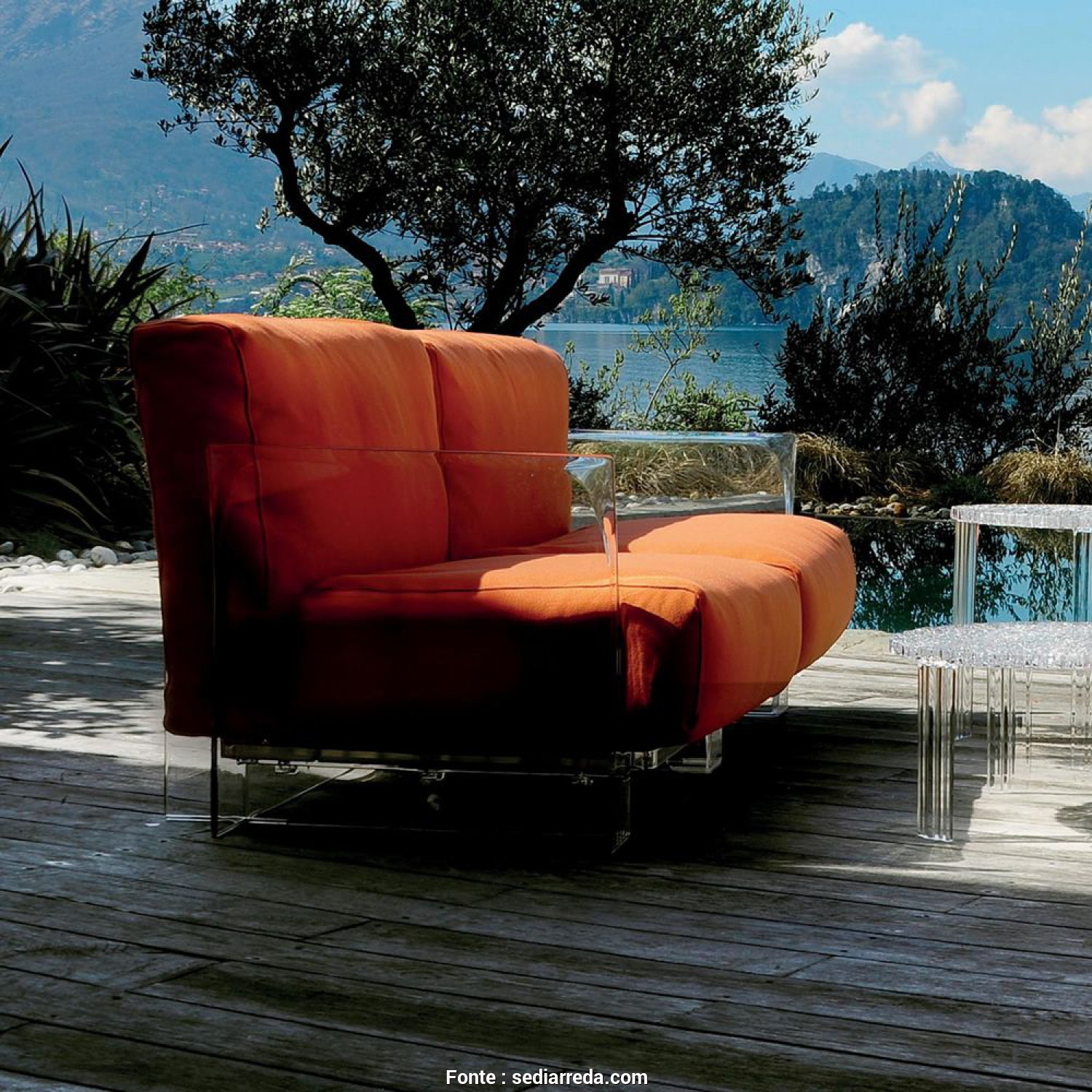 Kartell Divano Outdoor, Semplice Pop Outdoor Sofa, Sofa With Transparent Polycarbonate Structure, Cushions Covered In Orange Sunbrella Fabric
