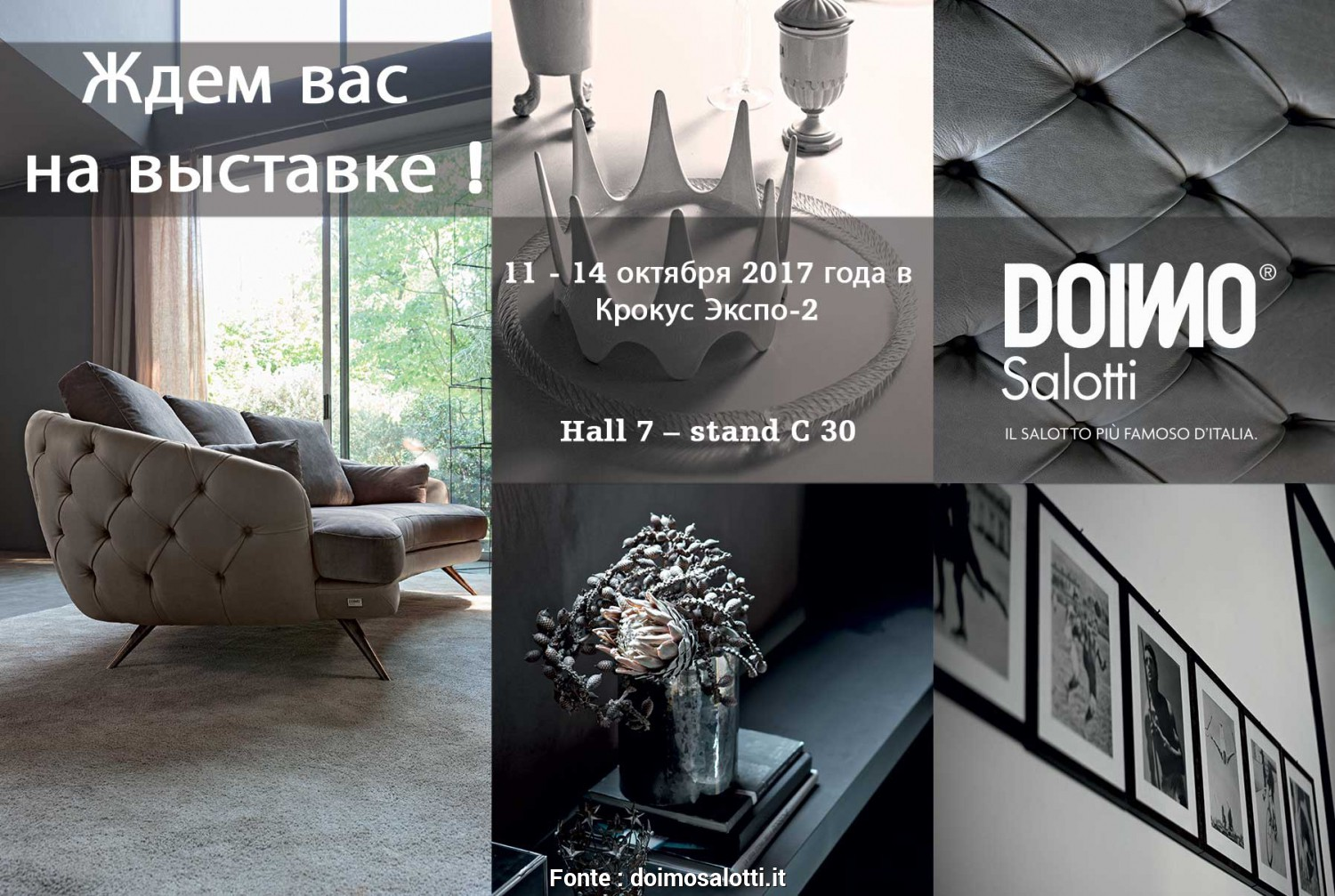 Misure Divano Russi, Bellissimo Doimo Salotti Will Attend At Crocus Expo 2, Moscow 11-14 October 2017. Hall 7, Stand C 30