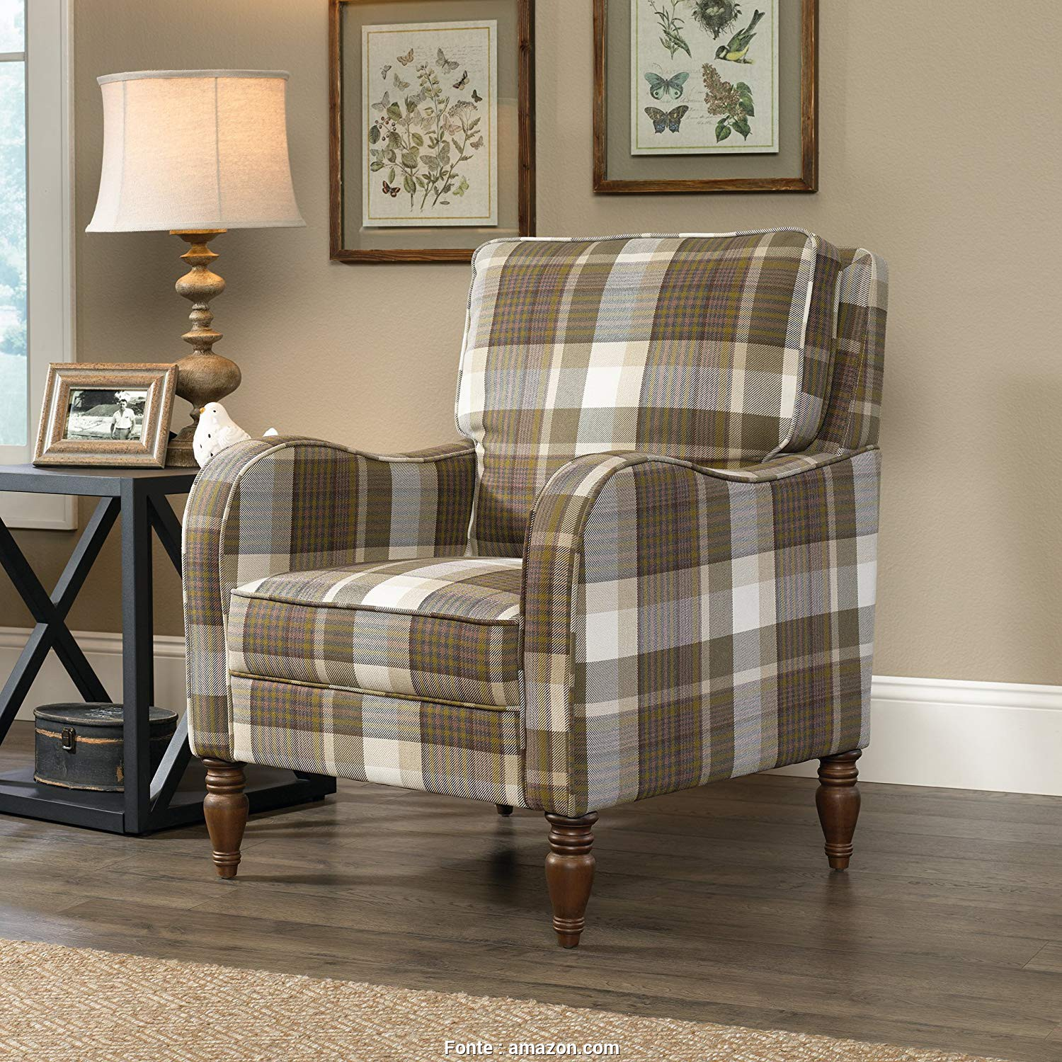 "Plaid Divano Amazon, Affascinante Amazon.Com: Sauder 420076, Grange Accent Chair L: 29.13"" X W: 33.07"" X H: 33.86"" Plaid: Kitchen & Dining"