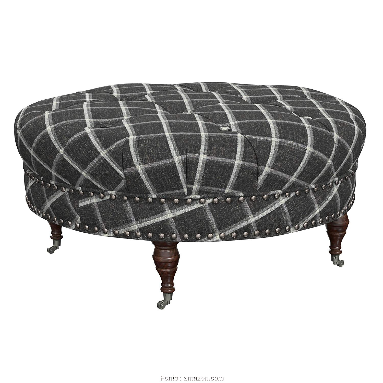 "Plaid Divano Amazon, Locale Amazon.Com: Stone & Beam Janelle Button Tufted Ottoman, 37""W, Flannel: Kitchen & Dining"