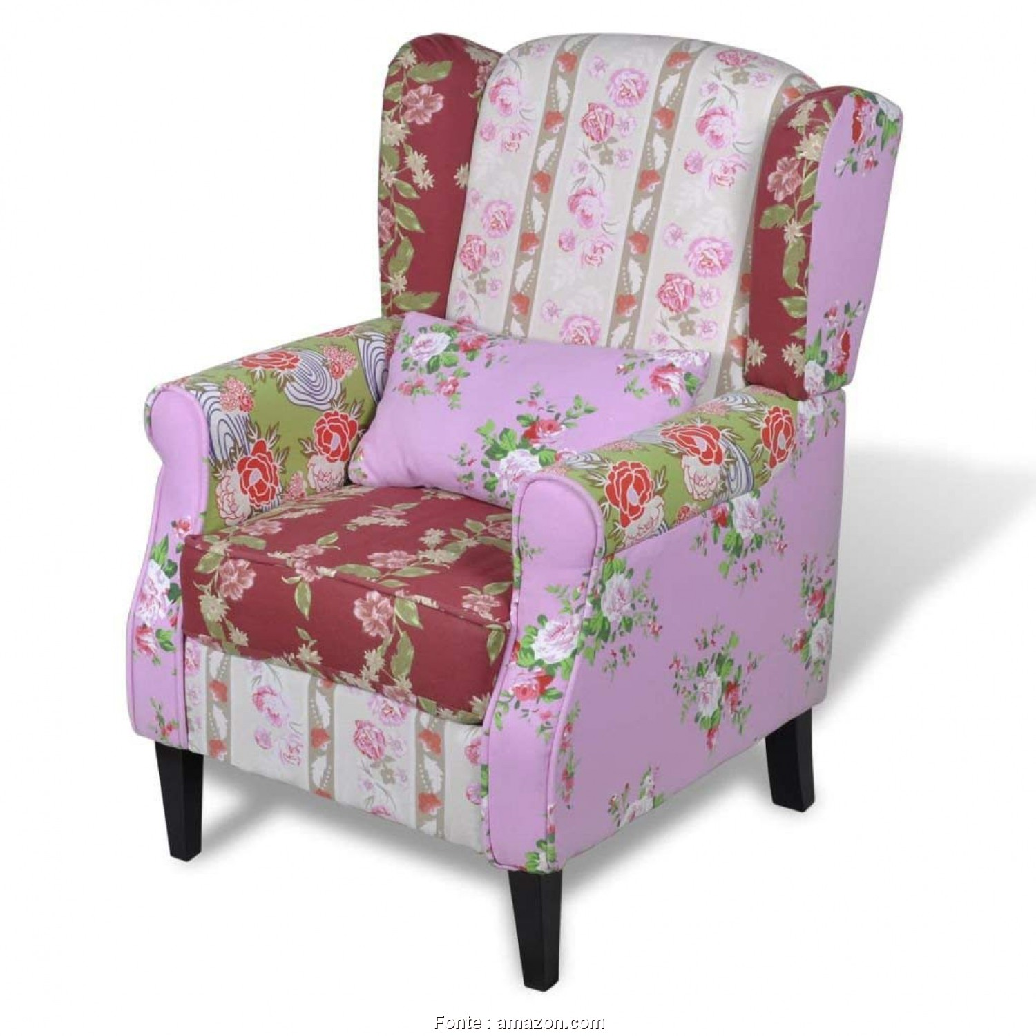 Poltrone Vintage Amazon, Modesto Amazon.Com: VidaXL Vintage Patchwork Wingback Armchair Accent Chair Fabric Upholstery Floral Design: Kitchen & Dining