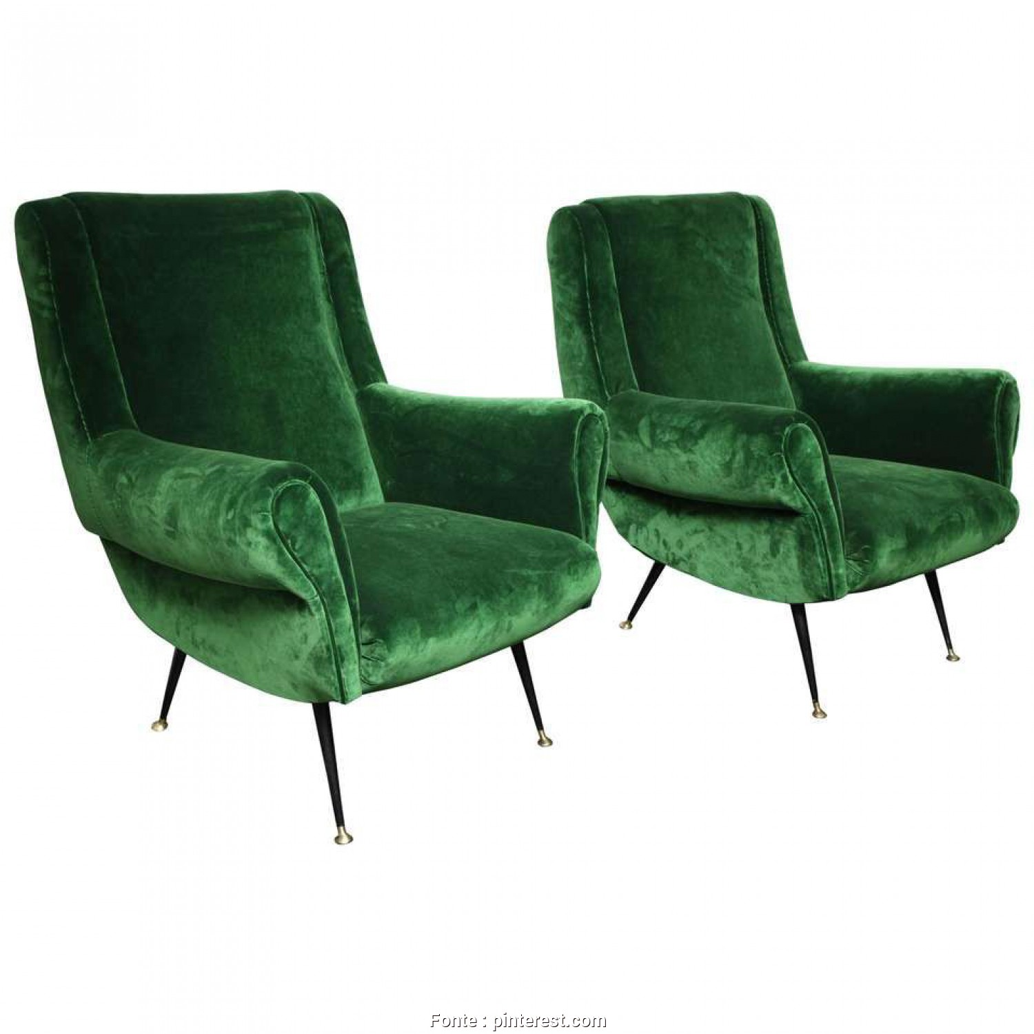 Poltrone Vintage Shop Online, Magnifico Pair Of Vintage Italian Green Velvet Chairs 1, Emerald/Kelly