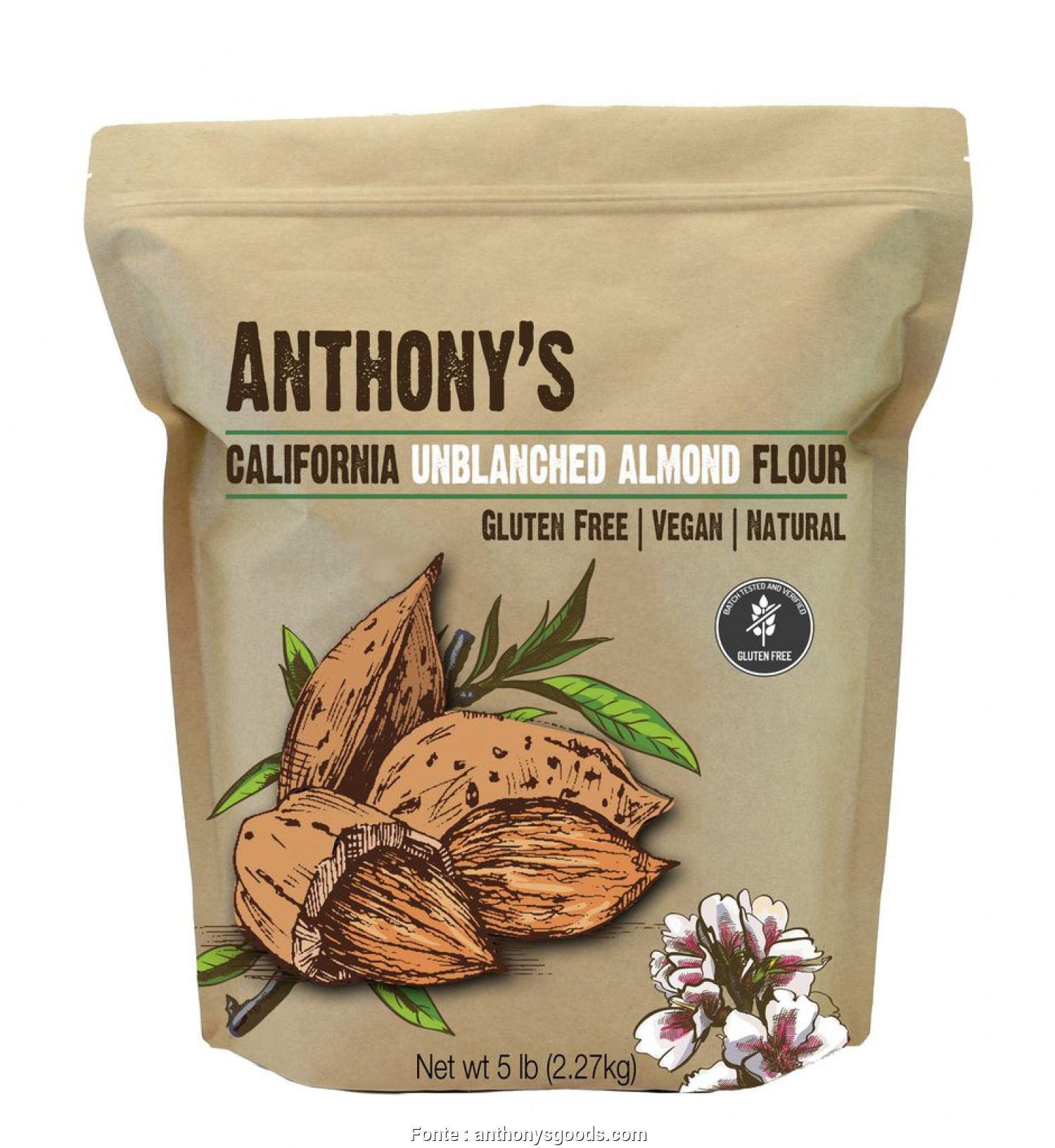 S Divani Flour, Migliore Natural Unblanched Almond Meal/Flour: Batch Tested & Verified Gluten-F, Anthony