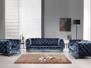 Amazon Divani Country, Magnifico Divani Casa, Furniture Delilah Collection Modern Velour Fabric Upholstered Sofa, That Includes Sofa, Loveseat & Chair With Stainless Steel Legs, Blue