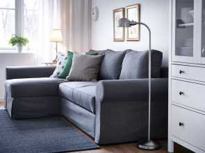backabro ikea divano letto A living room with a three-seat sofa-bed with a chaise longue, a grey cover Stupefacente 6 Backabro Ikea Divano Letto