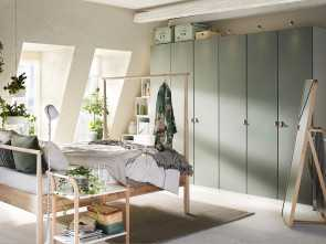 Beddinge Ikea Pdf, Costoso Light, Airy Bedroom With Natural Wooden, And Pale Green, Wardrobe Combination
