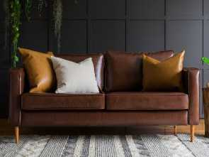 Cuscino Karlstad Ikea, Superiore IKEA Karlstad 3 Seater Sofa Covered With Urbanskin Chestnut Bycast Leather Collection Slipcover From Comfort Works