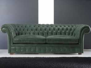 Divano 3 Posti Verde, Bello Divano Chesterfield / In Pelle, Posti / Verde -, CHESTERFIELD