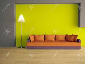 divano arancione parete Divano Arancione Pareti : Sofa with orange pillows near a green wall stock photo picture and Stupefacente 4 Divano Arancione Parete