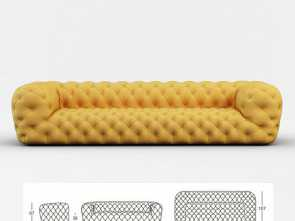 Divano Chester 3D Dwg, Costoso Chester Moon Sofa 3D Model In Sofa 3DExport