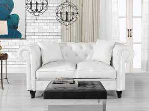 Divano Chesterfield Design, Sbalorditivo Amazon.Com: DIVANO ROMA FURNITURE Classic Living Room Bonded Leather Scroll, Chesterfield Loveseat (White): Kitchen & Dining