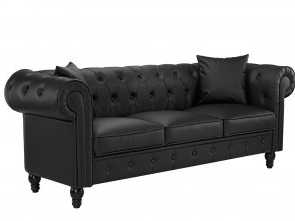 Divano Chesterfield Ebay, Migliore Details About Classic Living Room Bonded Leather Scroll, Chesterfield Sofa (Black)