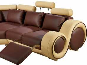 Divano In Patchwork, Classy Divani Casa 4087 Modern Bonded Leather Sectional Sofa With Recliners
