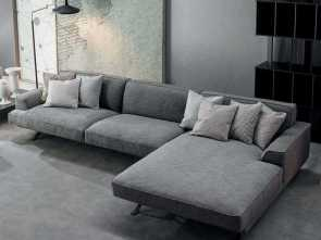 Divano Moderno, Chaise Longue, Freddo Slab Plus- Trendy Fabric Sofa With Chaise Longue · Divano Moderno, Chaise Longue