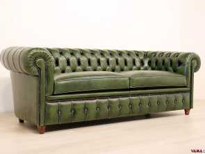divano vintage chesterfield Divano Chesterfield vintage in pelle verde inglese, Chesterfield Incredibile 4 Divano Vintage Chesterfield
