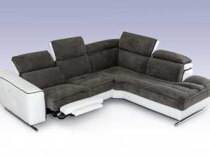 Dondi Divani Fiumicino, Esclusivo David Ferrari Starlight Italian Modern Grey & White Fabric & Leather Sectional Sofa