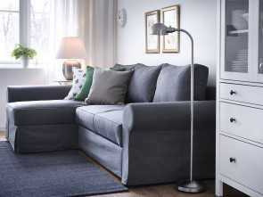 ikea divano backaby A living room with a three-seat sofa-bed with a chaise longue, a grey cover Bellissimo 5 Ikea Divano Backaby