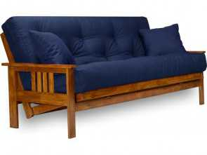 Ikea Futon Won'T Fold Up, Classy Stanford Futon,, Full Size Futon Frame With Mattress Included (8 Inch Thick Mattress, Twill Navy Blue Color), More Colors Available, Heavy Duty Wood